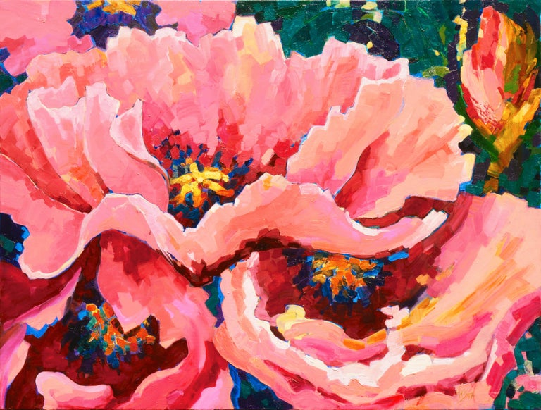 Teresa Smith Landscape Painting - Post-Impressionist Floral Still Life, 'Poppies', Canadian Woman Artist
