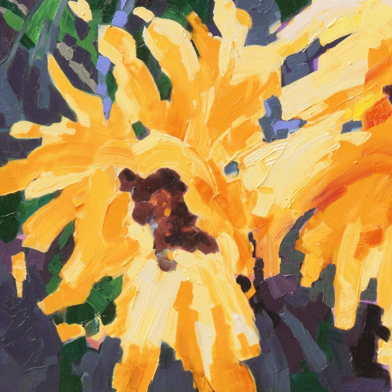 Signed lower right, 'T.K.S' and painted 2019.  A large and vibrant study of sunflower blossoms contrasted against a background of midnight blue.  (The following is the artists's self-description of her work and process.)  Teresa Smith received her