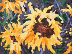Large Post-Impressionist Floral Still Life, 'Sunflower I', Canadian Woman Artist