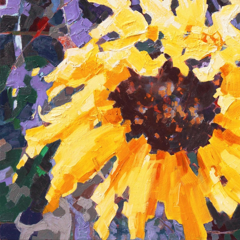 Sunflower II - Black Landscape Painting by Teresa Smith