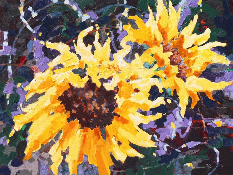 Sunflower II   (Woman Artist, Post-Impressionism, Modern, Semi-Abstract, Floral) 1