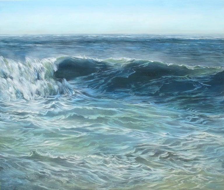 Teri Malo Landscape Painting - Blue Cursives