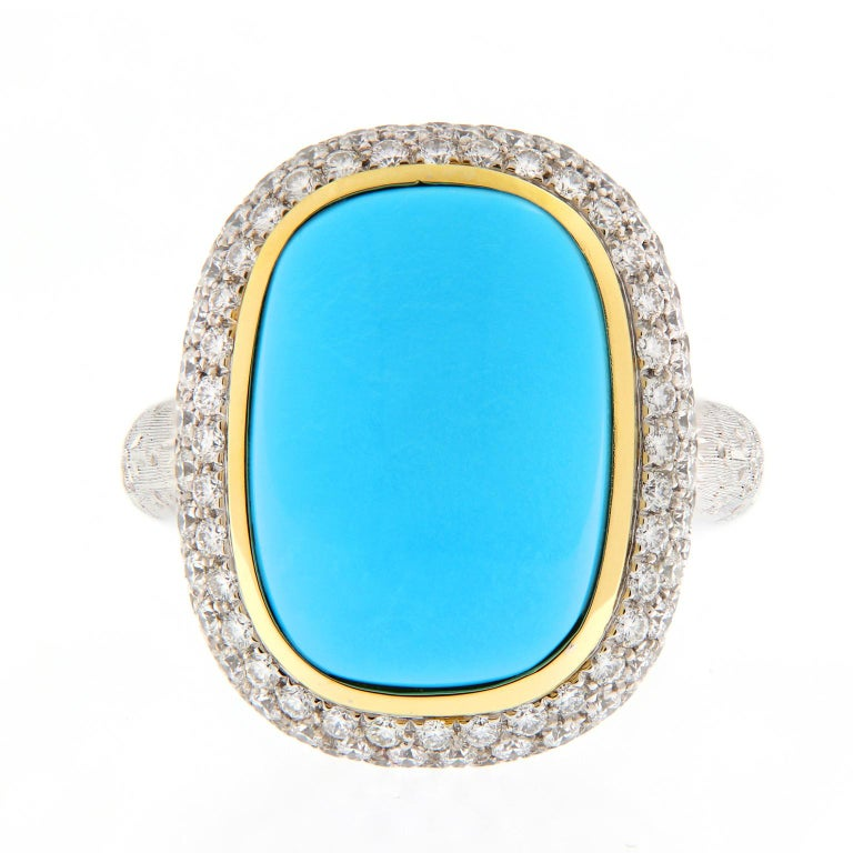 Outstanding display of color and Italian craftsmanship from Teri of Valenza, Italy. Persian turquoise is considered the most valuable variety, its robin's egg blue is arguably the most beautiful turquoise. This ring centers around a cabochon