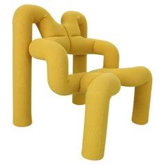 """Terje Ekström Lounge Chair """"Ekstrem"""" in Yellow Mustard New Reupholstery, 1970's"""
