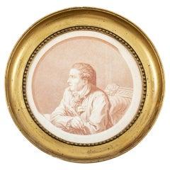 Terkel Kleve Portrait Crayon Engraving of Johannes Ewald