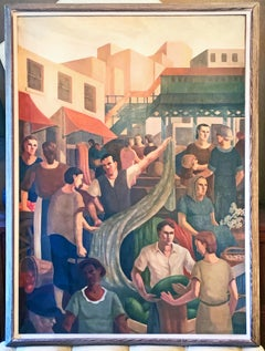 """Terminal Market, Bronx"" Large WPA-Period Mural of New York Scene"