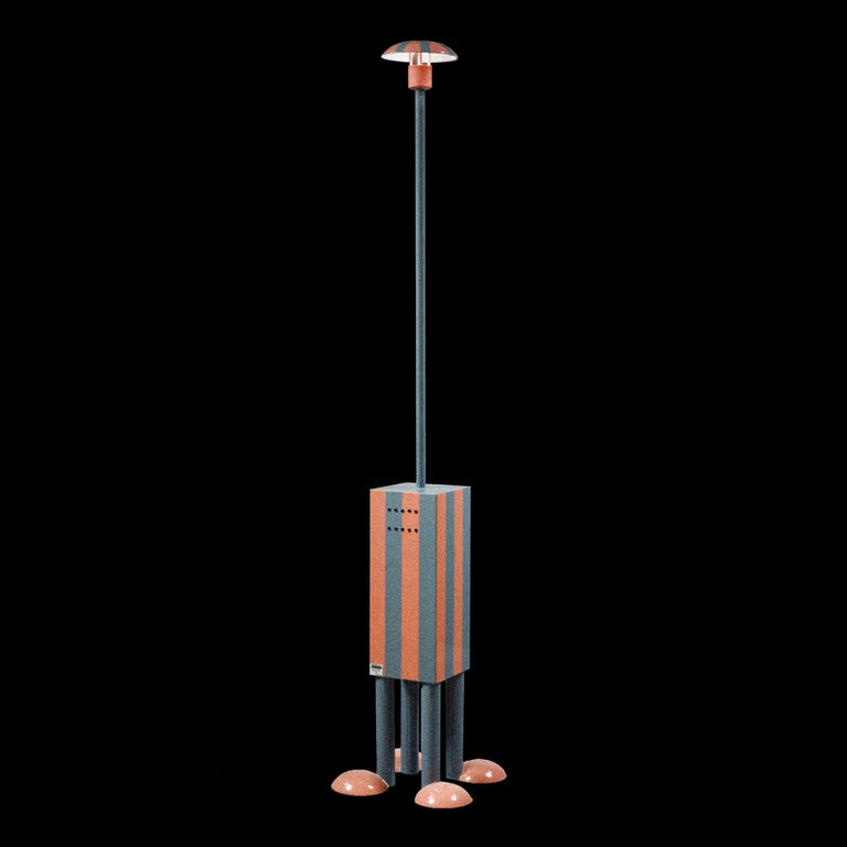 Here you are shown the EU wired, Terminus floor lamp with Structure in painted sheet steel. One bulb 12V, 50W., designed in 1981, by Martine Bedin.   Martine Bedin is an industrial designer, architect and teacher. She studied Architecture at the