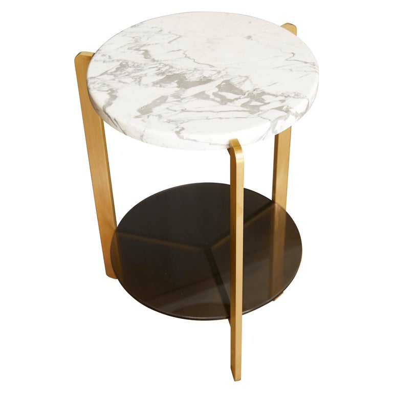 """Ternary"" Side Table Metal, Marble, Glass For Sale"