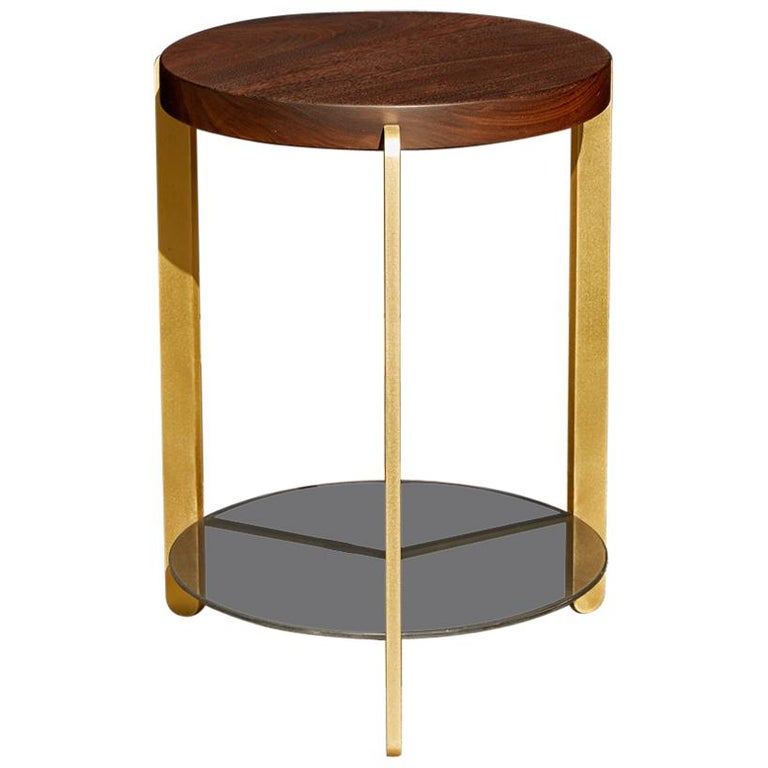 """Ternary"" Side Table Walnut, Brass, Grey Acid Etched Glass For Sale"
