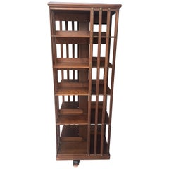 Terquem, Rare High Rotating Bookcase in Solid Walnut Has 5 Shelves, 19th Century