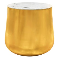 Terra Alto Side Table in Brass with White Satuario Marble Top