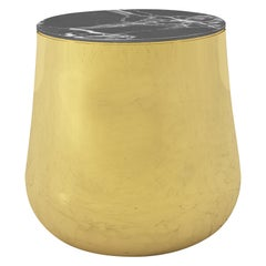 Terra Alto Side Table in Brass with Black Marquina Marble Top
