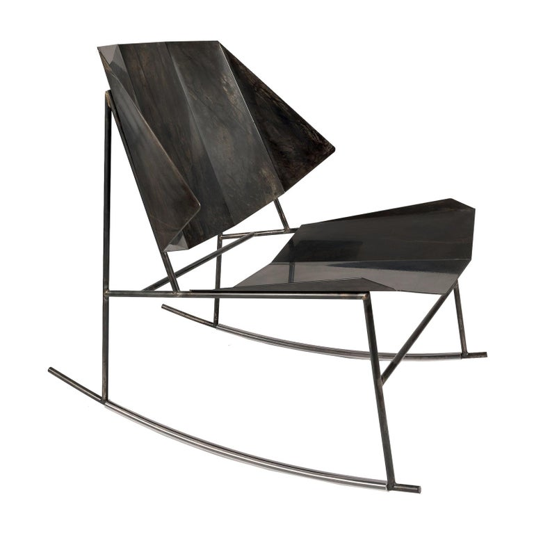 Terra Black Rocking Chair by Atipico For Sale