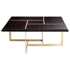 Terra Coffee Table in Glossy Ebony Makassar Top and Antique Brass Base