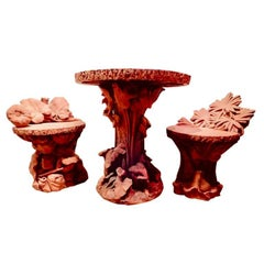 Terra Cotta Antique Naturalistic Three-Piece Bistro Set