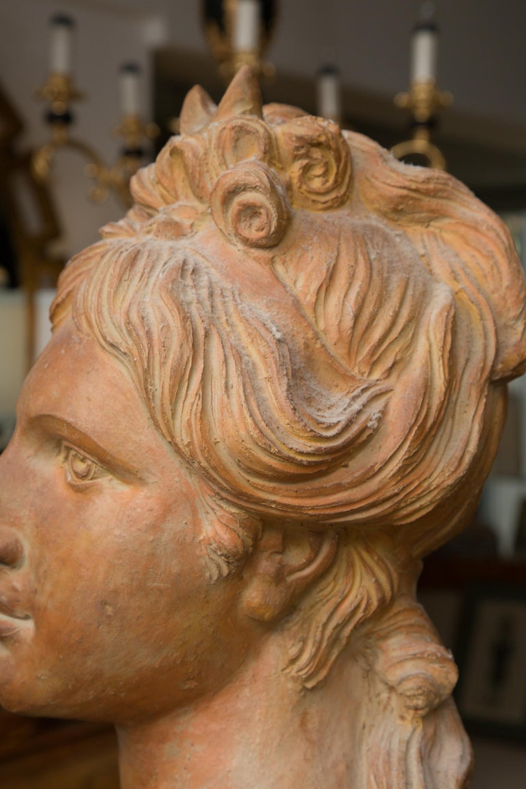 Hand-Crafted Terracotta Bust of Italian Nobility For Sale
