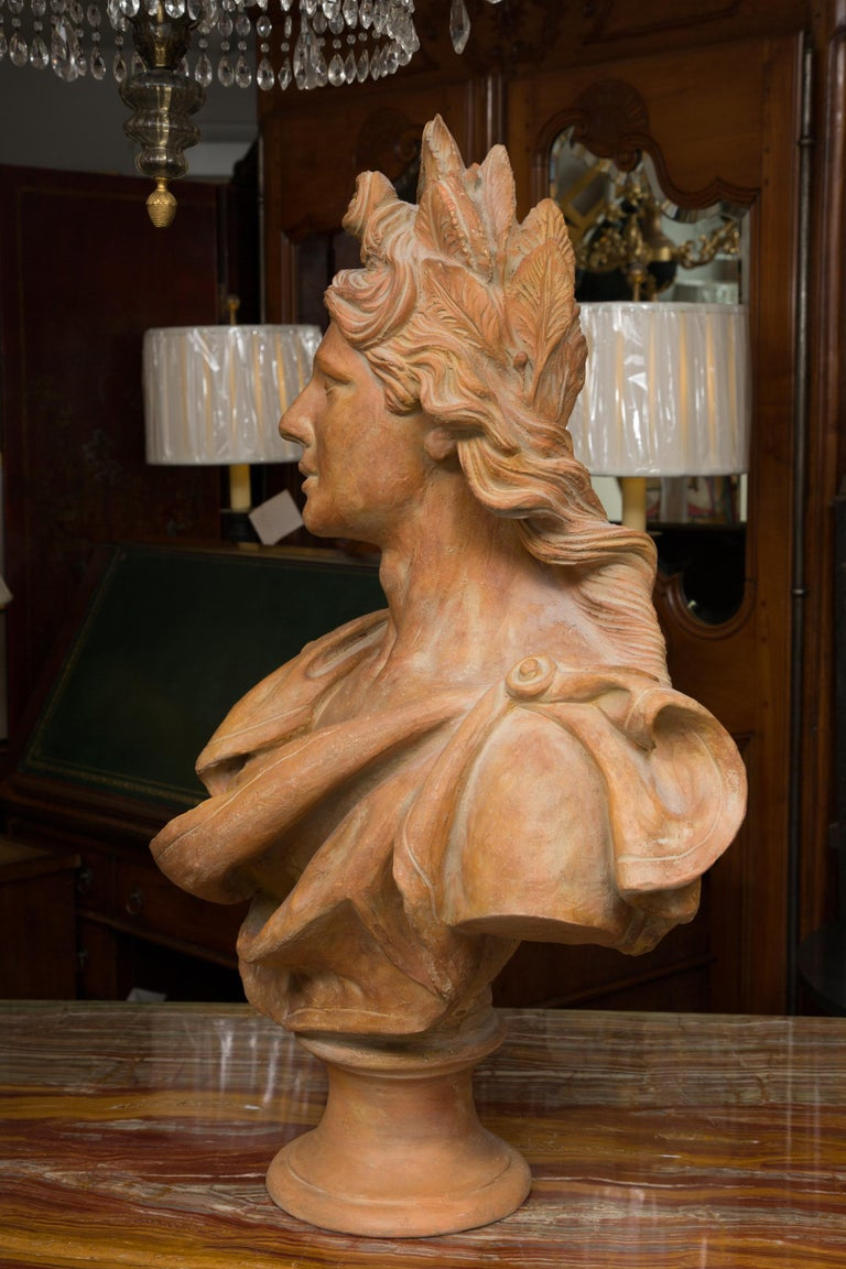 Terracotta Bust of Italian Nobility In Good Condition For Sale In WEST PALM BEACH, FL
