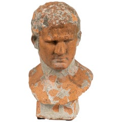 Terracotta Bust of Man with Cement Remnants from France
