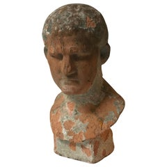 Terra Cotta Bust of Man with Cement Remnants from France