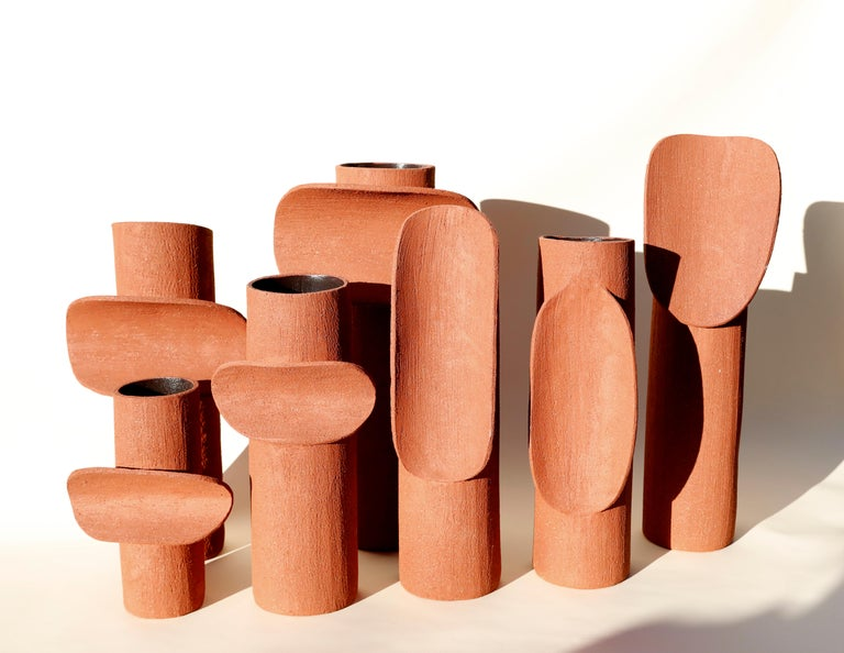 Terra Cotta Large TOTEM by Olivia Cognet In New Condition For Sale In Geneve, CH