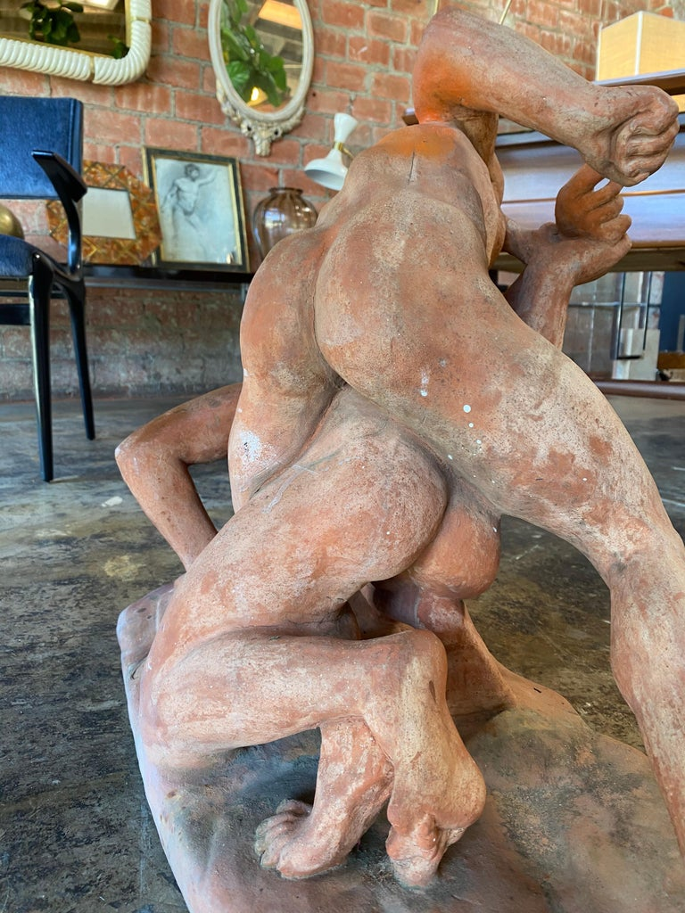 Terracotta Sculpture of the Uffizi Wrestlers by Vincenzo Vela For Sale 5