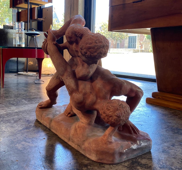 Mid-Century Modern Terracotta Sculpture of the Uffizi Wrestlers by Vincenzo Vela For Sale
