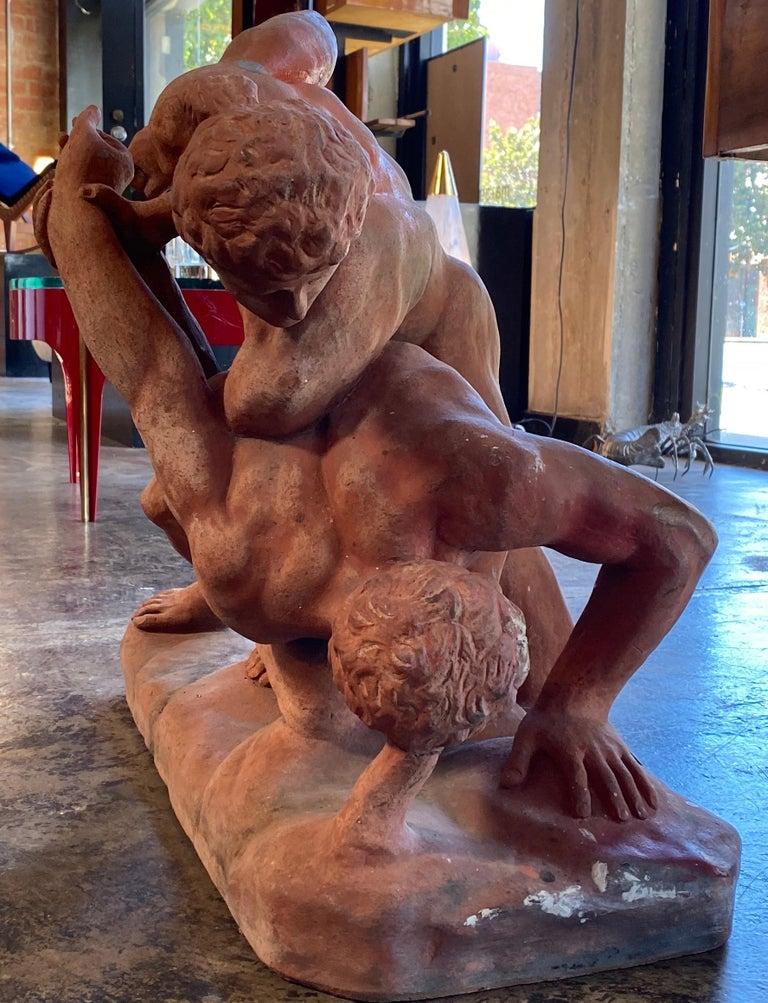 Italian Terracotta Sculpture of the Uffizi Wrestlers by Vincenzo Vela For Sale