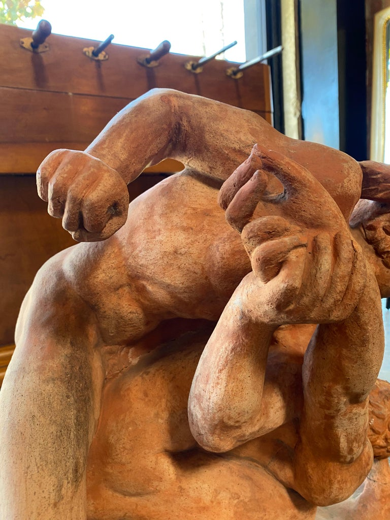 Terracotta Sculpture of the Uffizi Wrestlers by Vincenzo Vela For Sale 2