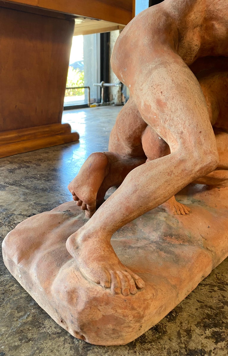 Terracotta Sculpture of the Uffizi Wrestlers by Vincenzo Vela For Sale 3