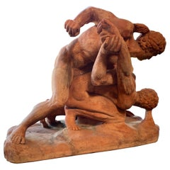 Terracotta Sculpture of the Uffizi Wrestlers by Vincenzo Vela