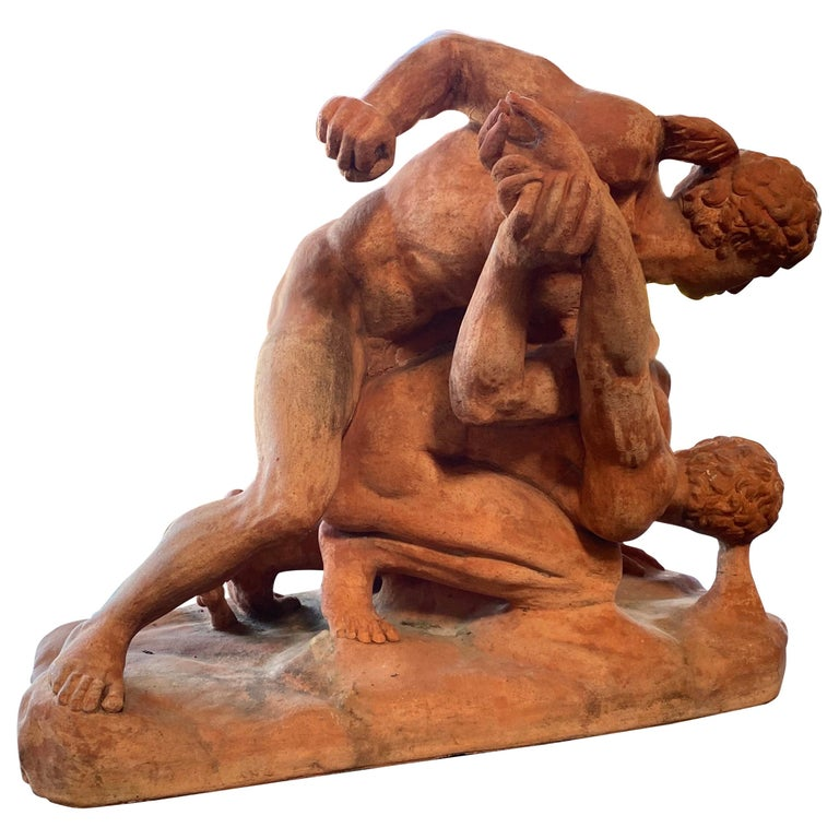 Terracotta Sculpture of the Uffizi Wrestlers by Vincenzo Vela For Sale