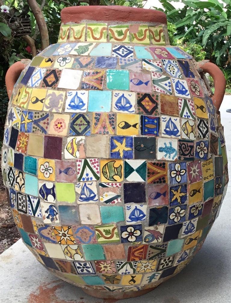 Terracotta Single Garden Vase Urn with Ceramic Tile Mosaic For Sale 5