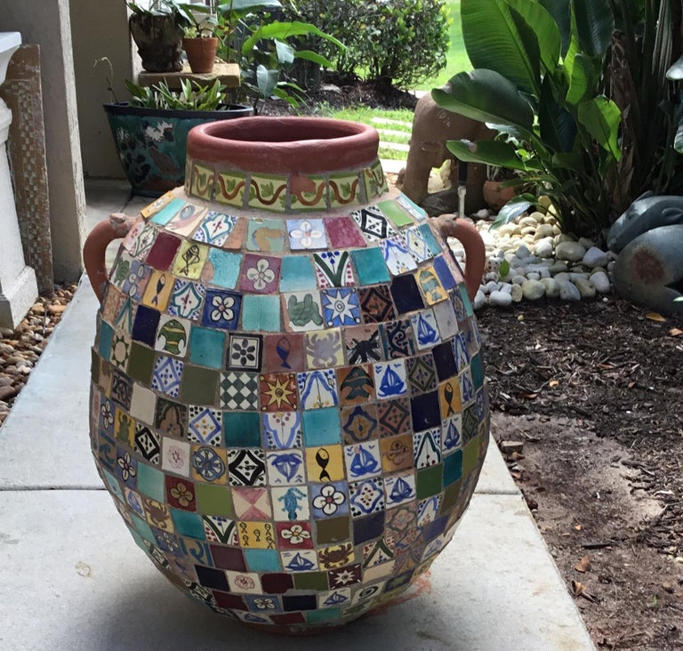 Terracotta Single Garden Vase Urn with Ceramic Tile Mosaic For Sale 6