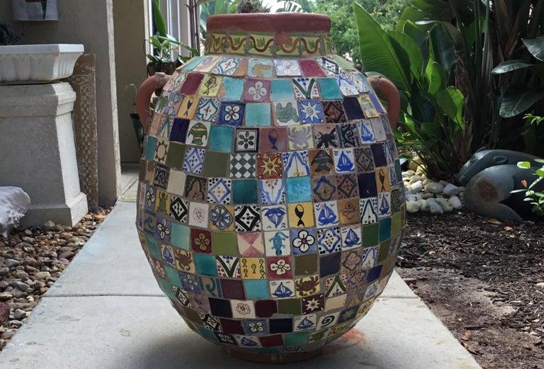 Terracotta Single Garden Vase Urn with Ceramic Tile Mosaic For Sale 7
