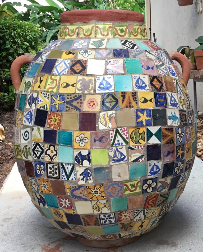 Terracotta Single Garden Vase Urn with Ceramic Tile Mosaic For Sale 8
