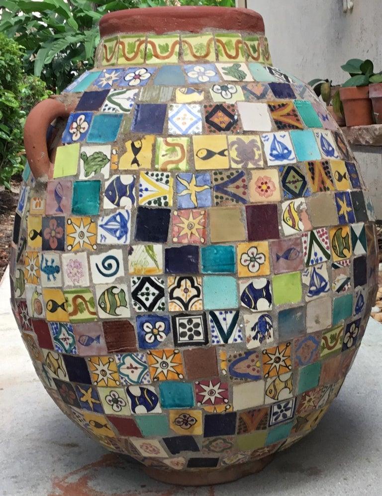 Terracotta Single Garden Vase Urn with Ceramic Tile Mosaic For Sale 9