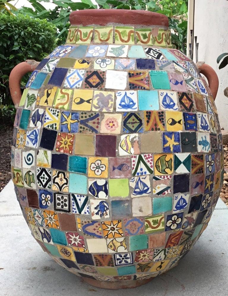 Terracotta Single Garden Vase Urn with Ceramic Tile Mosaic For Sale 10