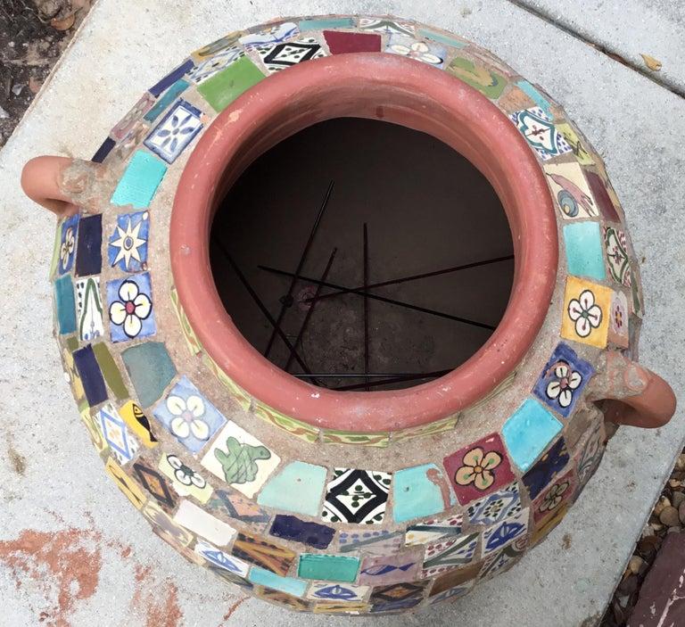 Terracotta Single Garden Vase Urn with Ceramic Tile Mosaic For Sale 11