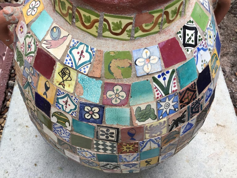 Terracotta Single Garden Vase Urn with Ceramic Tile Mosaic For Sale 13