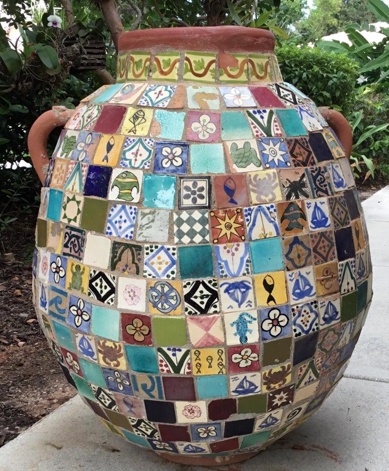 Terracotta Single Garden Vase Urn with Ceramic Tile Mosaic For Sale 14