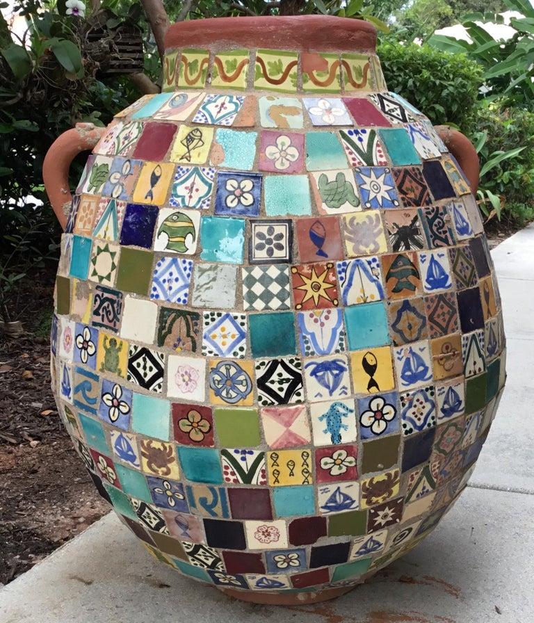 Terracotta Single Garden Vase Urn with Ceramic Tile Mosaic For Sale 15