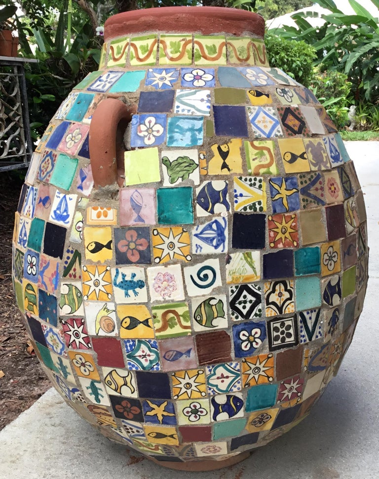 Moroccan Terracotta Single Garden Vase Urn with Ceramic Tile Mosaic For Sale