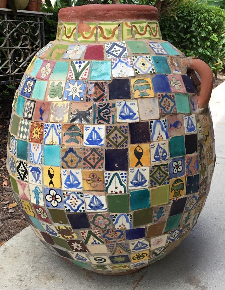 20th Century Terracotta Single Garden Vase Urn with Ceramic Tile Mosaic For Sale
