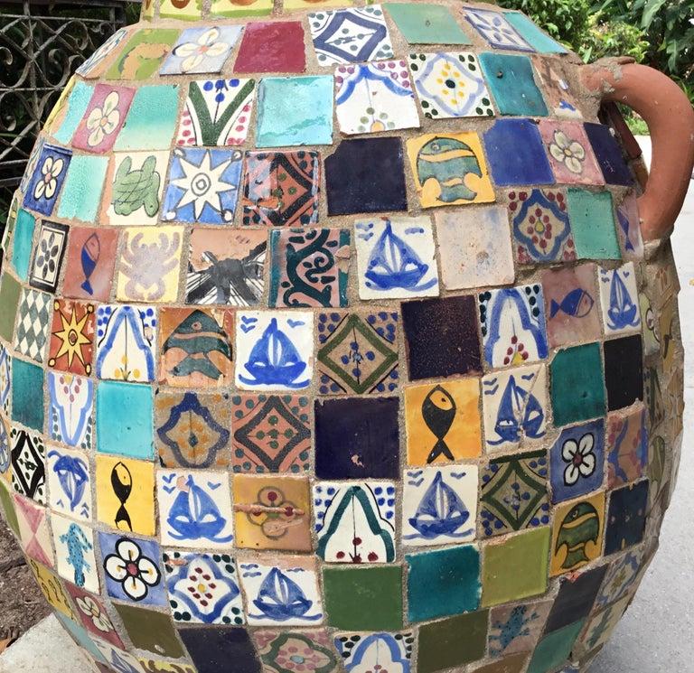 Terracotta Single Garden Vase Urn with Ceramic Tile Mosaic For Sale 1