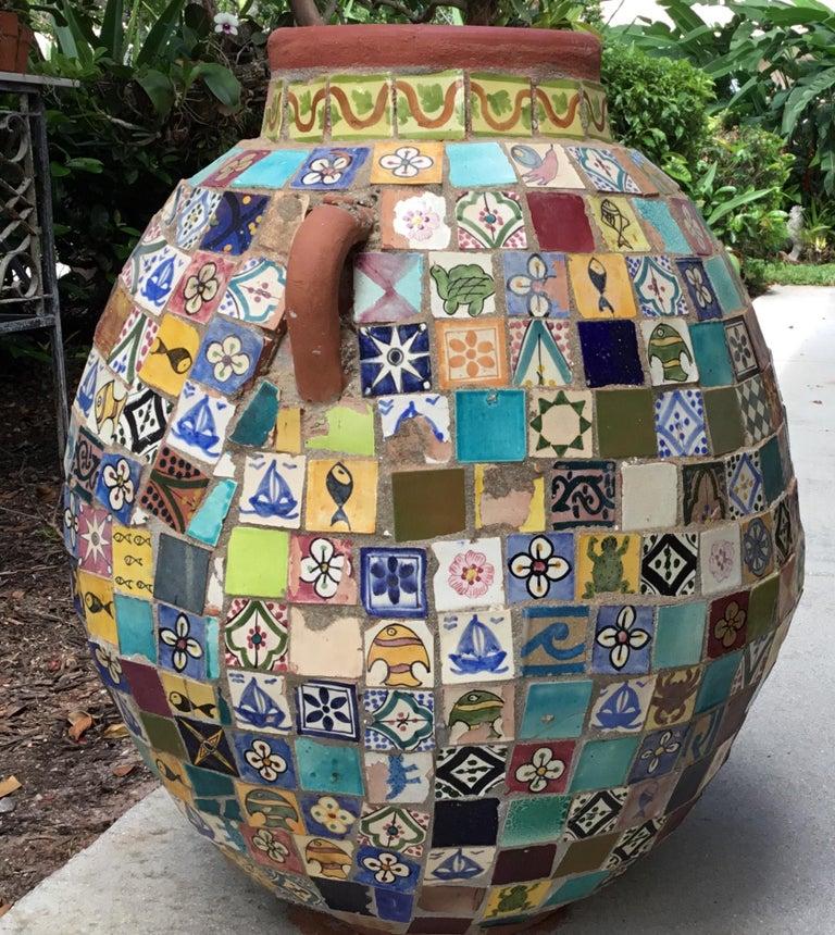 Terracotta Single Garden Vase Urn with Ceramic Tile Mosaic For Sale 3