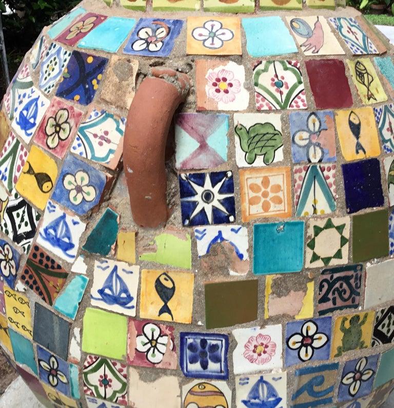 Terracotta Single Garden Vase Urn with Ceramic Tile Mosaic For Sale 4