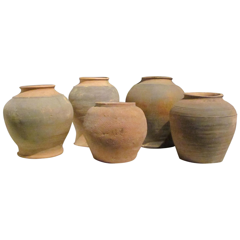 Terra Cotta Textured Pots, North Vietnam, 19th Century
