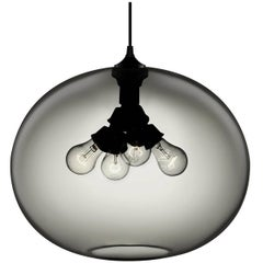 Terra Gray Handblown Modern Glass Pendant Light, Made in the USA