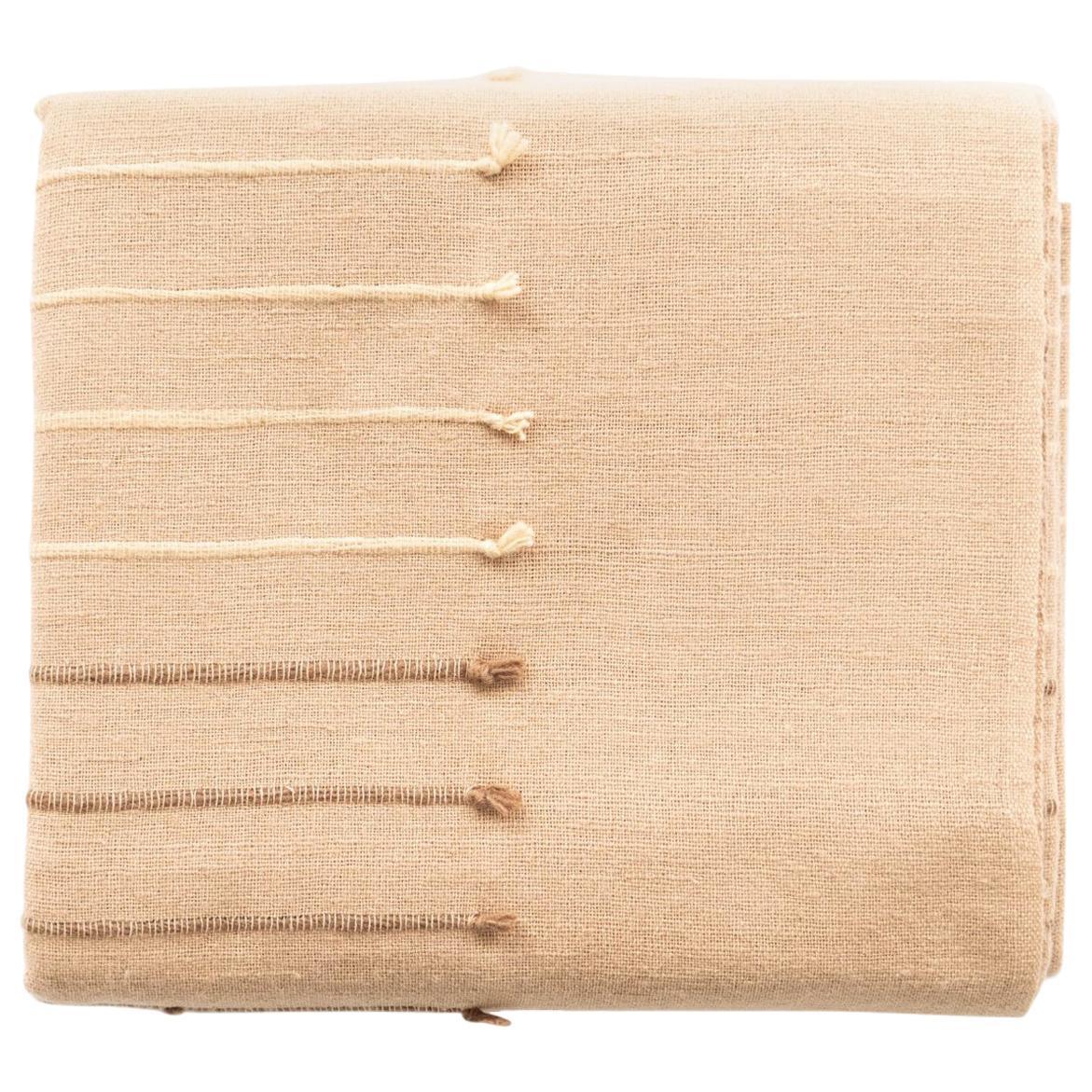 TERRA Handloom King Size Bedspread / Coverlet In Stripes Design, Neutral Color