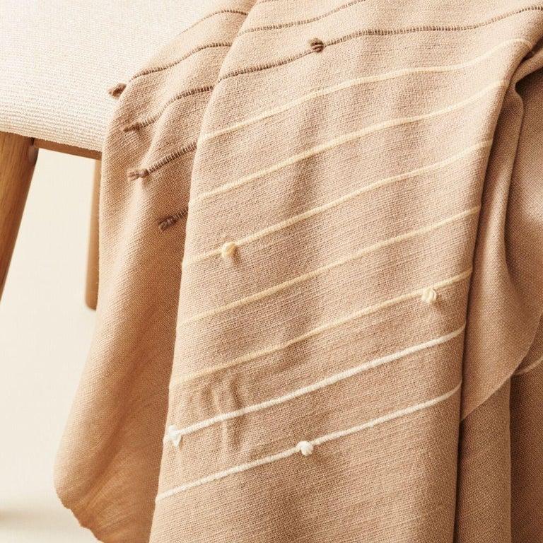 TERRA Handloom Merino Cotton Throw /  Blanket In Stripes Design, Neutral Color For Sale 4